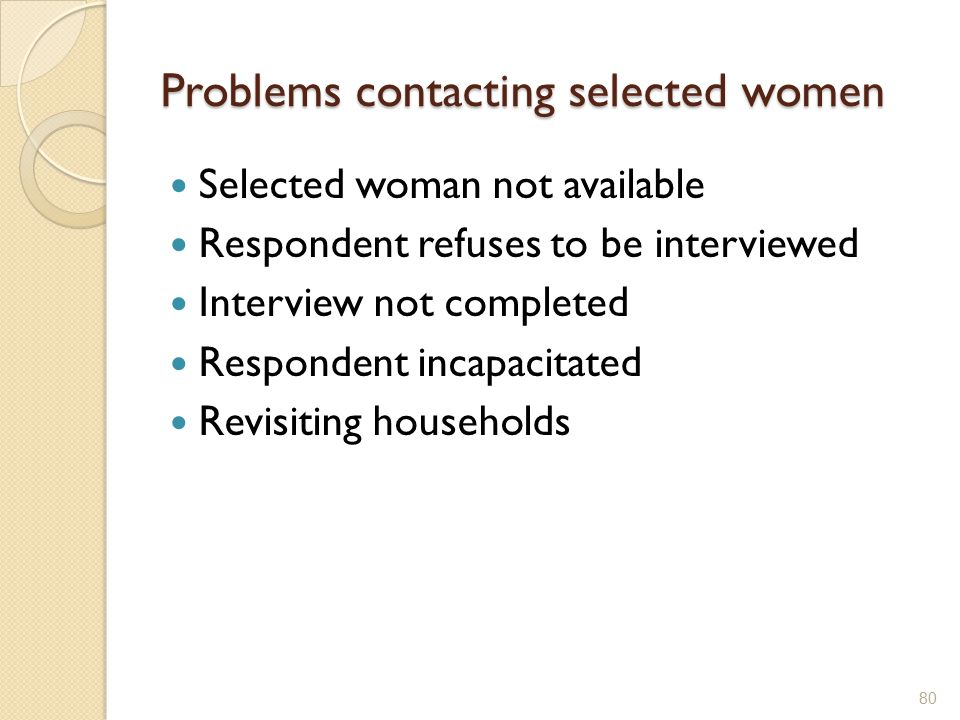 Problems contacting selected women