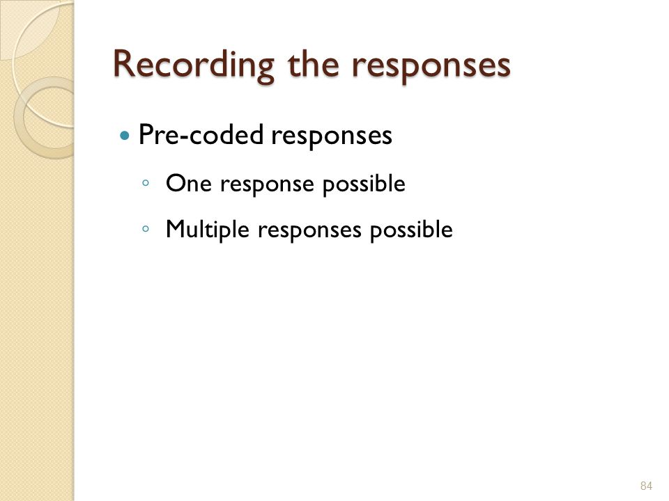 Recording the responses