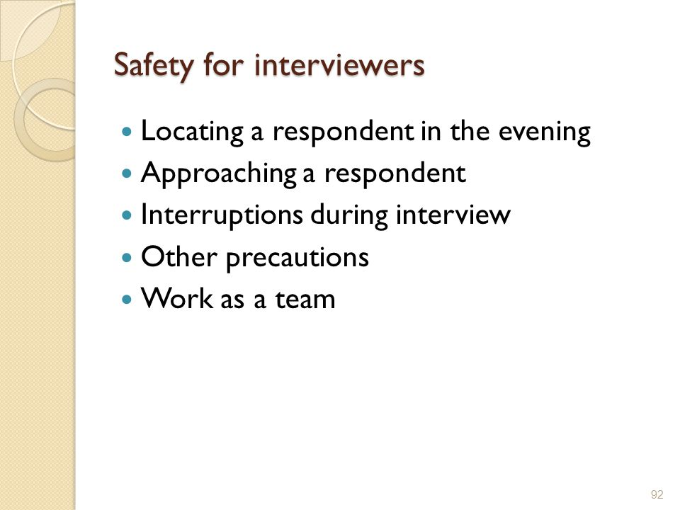 Safety for interviewers