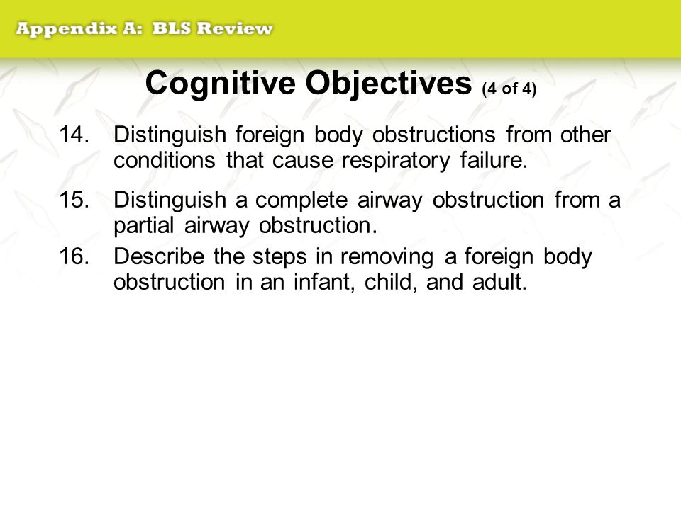 Cognitive Objectives (4 of 4)