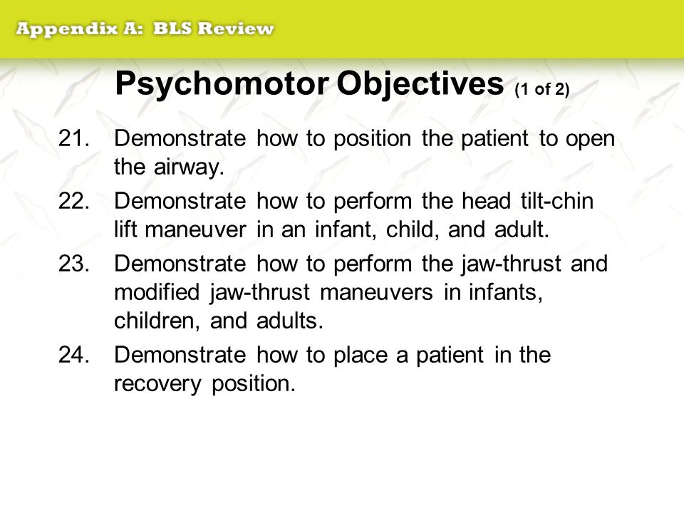 Psychomotor Objectives (1 of 2)