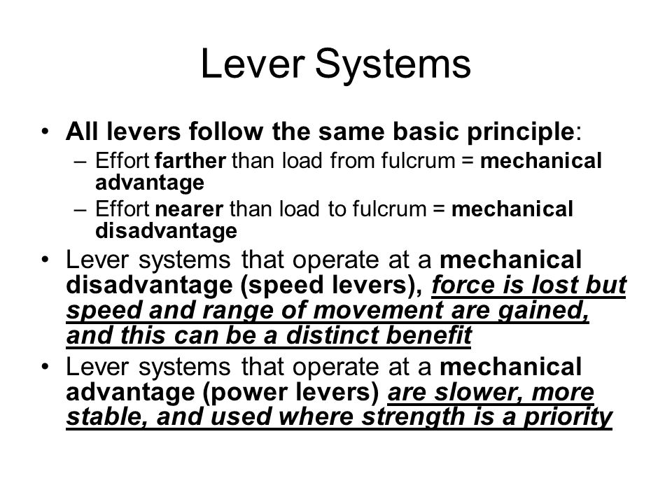 Lever Systems All levers follow the same basic principle: