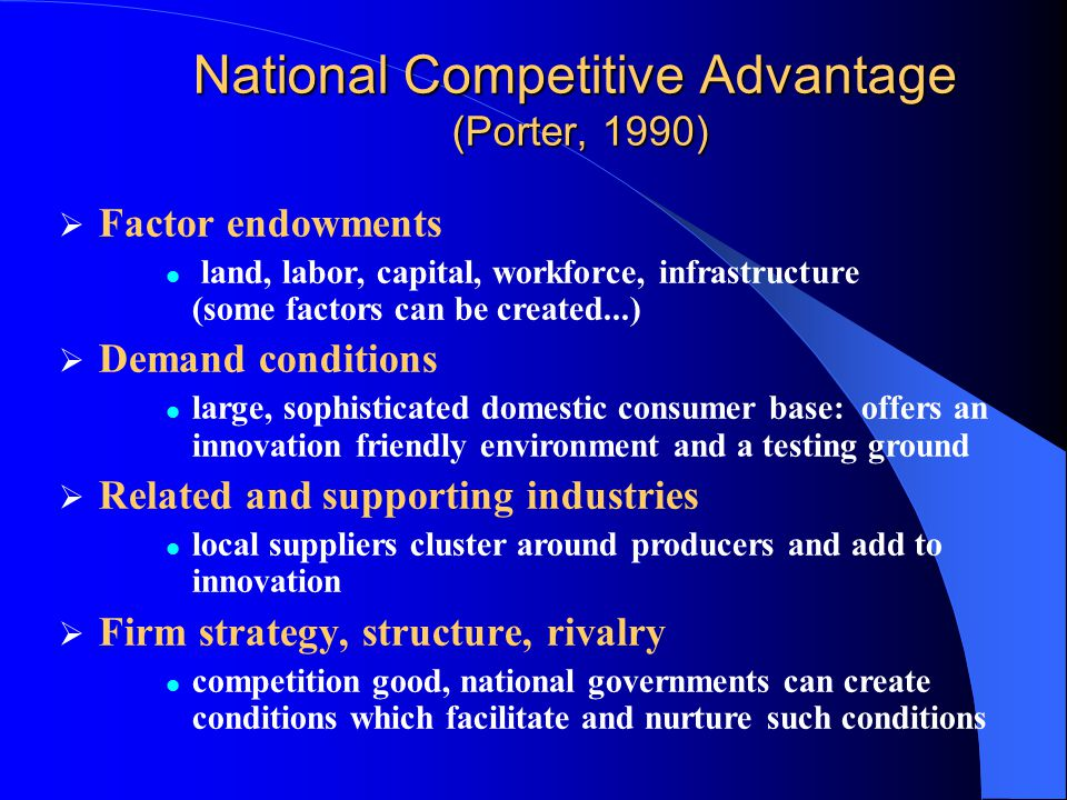 National Competitive Advantage (Porter, 1990)