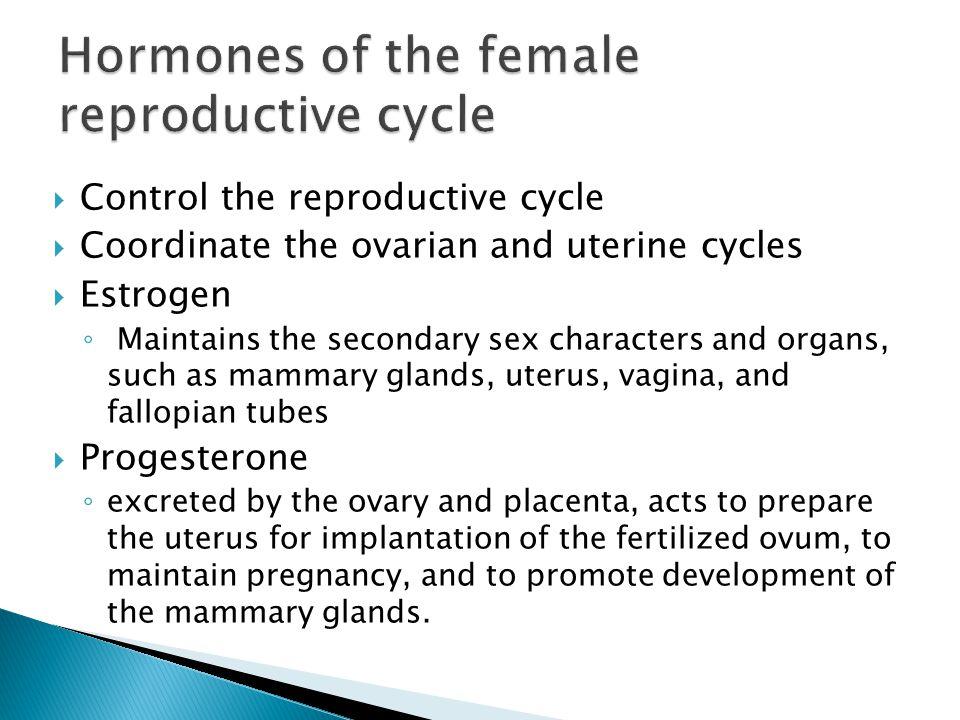 Hormones of the female reproductive cycle