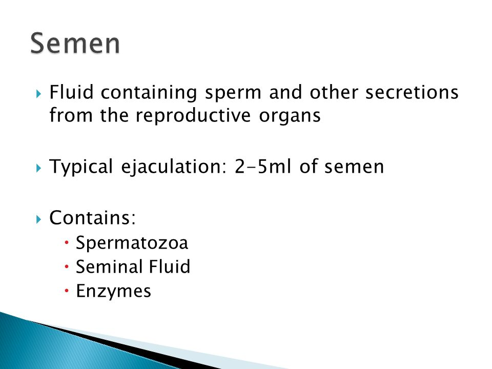Semen Fluid containing sperm and other secretions from the reproductive organs. Typical ejaculation: 2-5ml of semen.