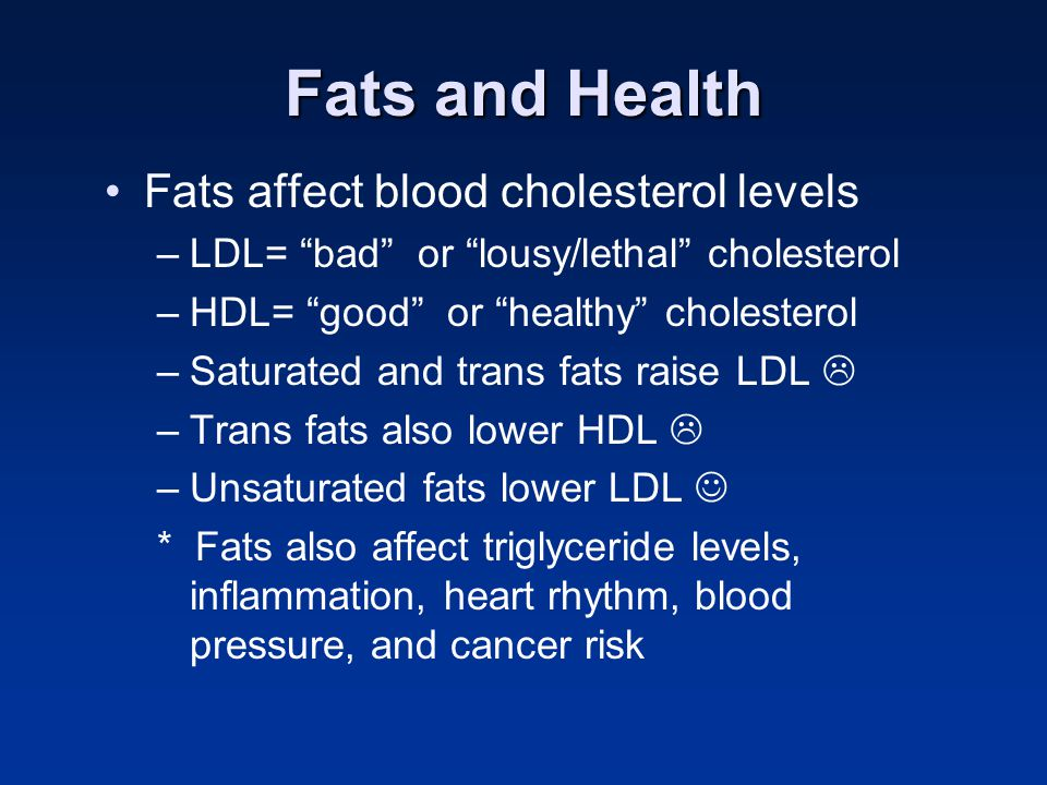 Fats and Health Fats affect blood cholesterol levels