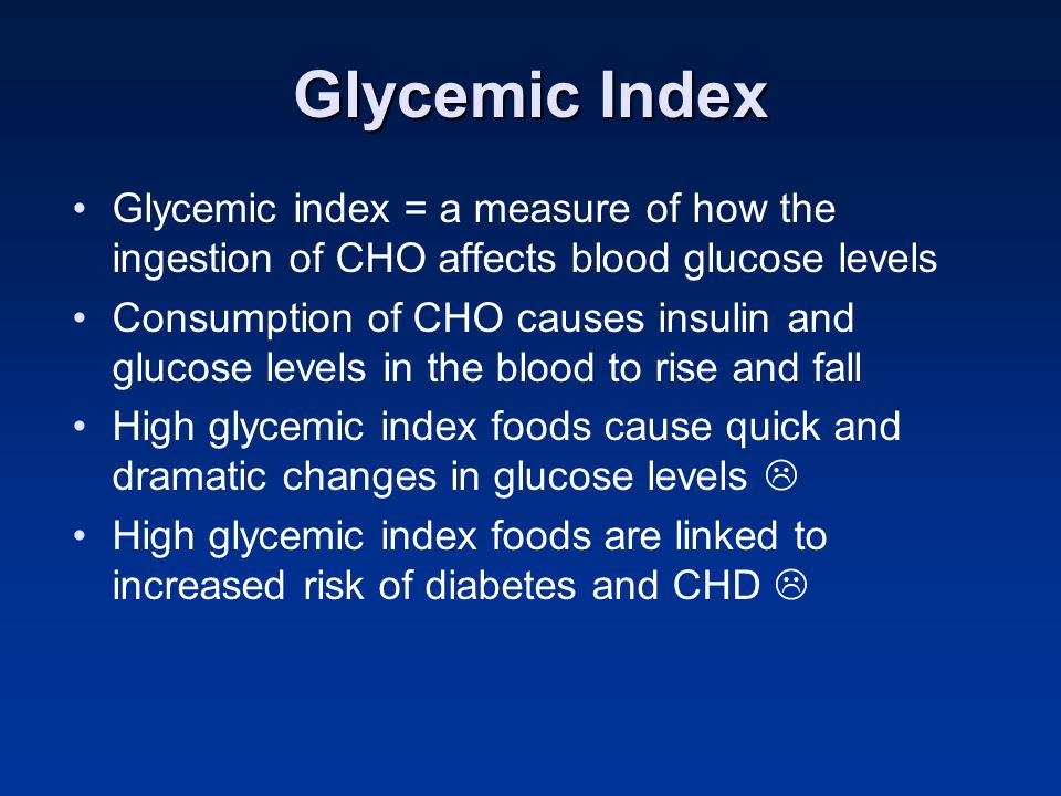 Glycemic Index Glycemic index = a measure of how the ingestion of CHO affects blood glucose levels.