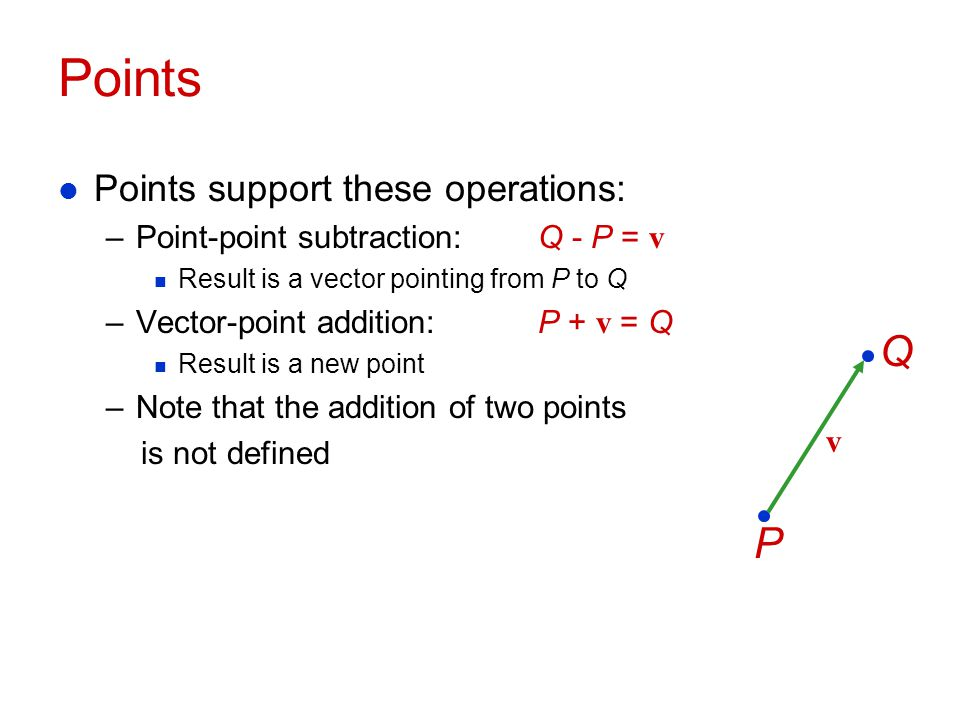 Points Q P Points support these operations: