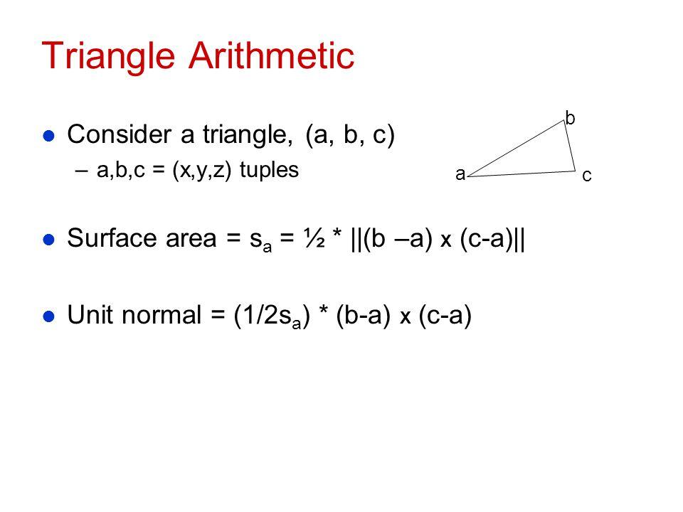 Triangle Arithmetic Consider a triangle, (a, b, c)