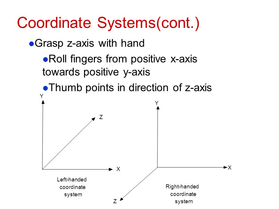 Coordinate Systems(cont.)