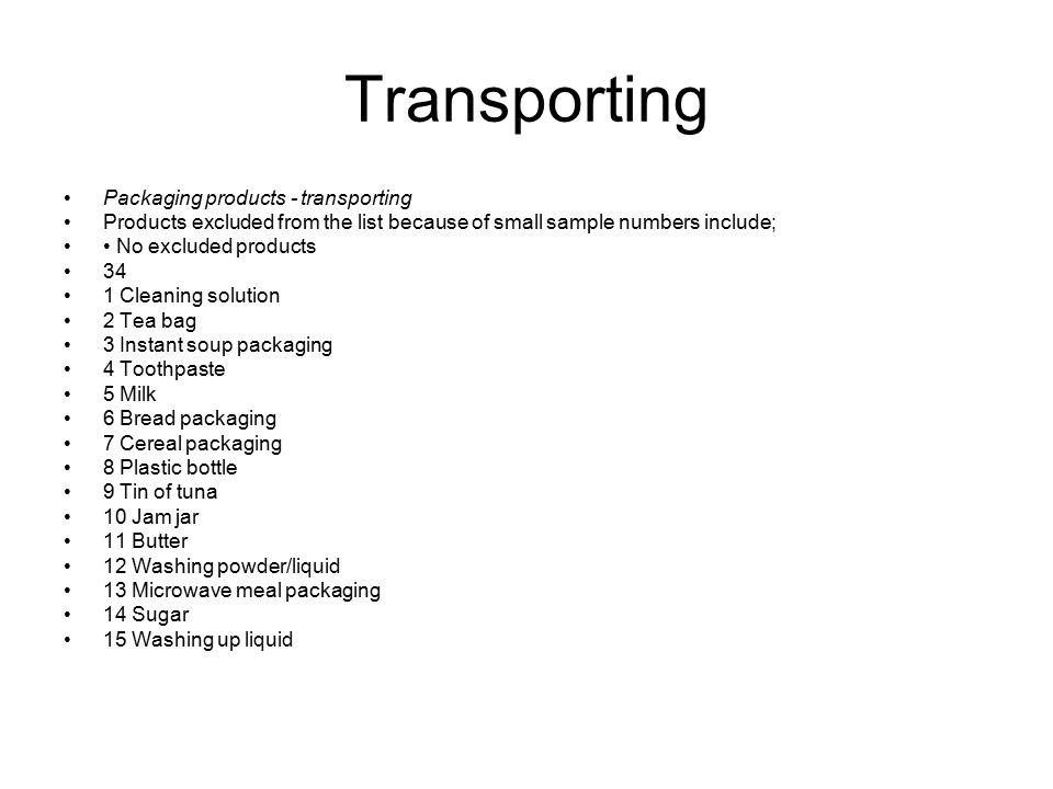 Transporting Packaging products - transporting