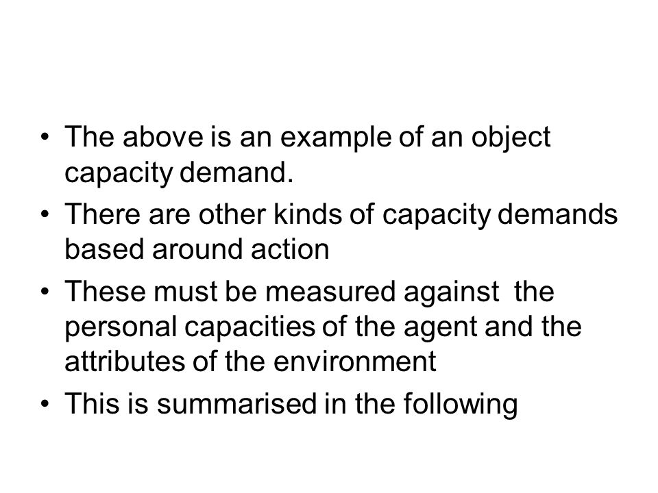 The above is an example of an object capacity demand.