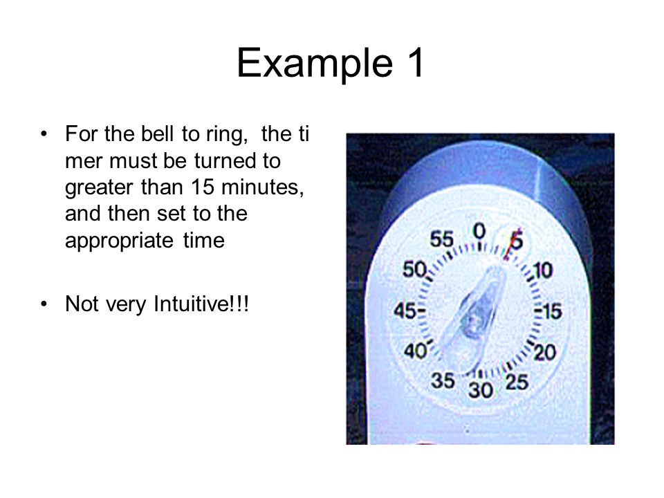 Example 1 For the bell to ring, the timer must be turned to greater than 15 minutes, and then set to the appropriate time.