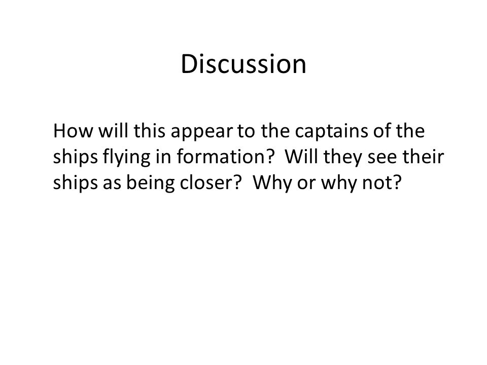 Discussion How will this appear to the captains of the ships flying in formation.