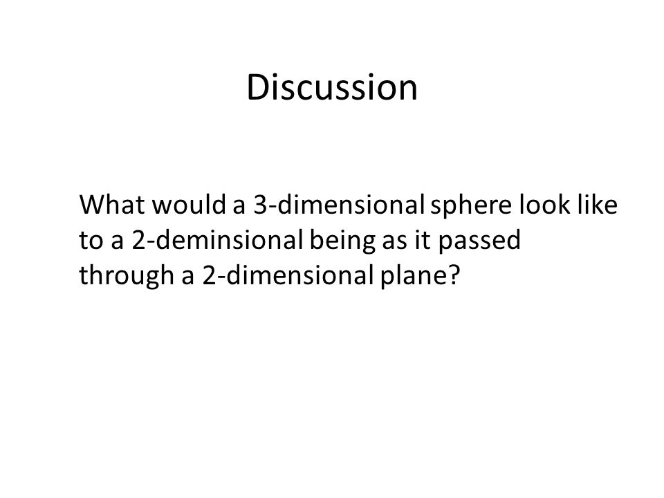 Discussion What would a 3-dimensional sphere look like to a 2-deminsional being as it passed through a 2-dimensional plane