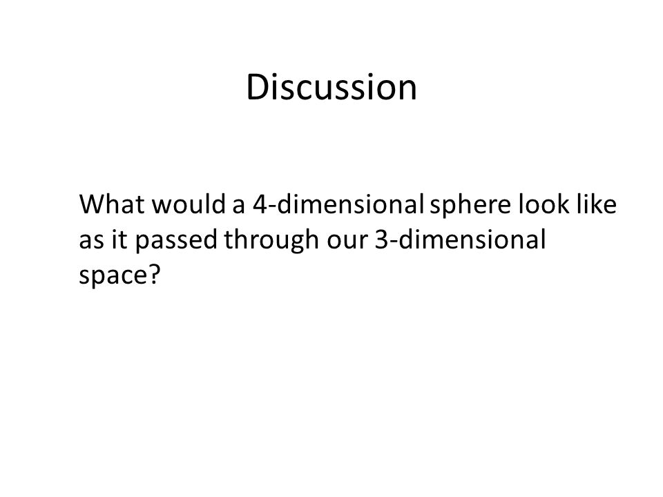 Discussion What would a 4-dimensional sphere look like as it passed through our 3-dimensional space