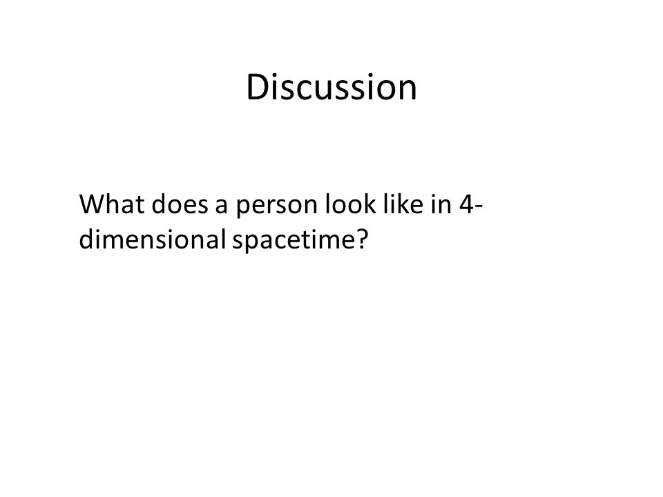 Discussion What does a person look like in 4-dimensional spacetime
