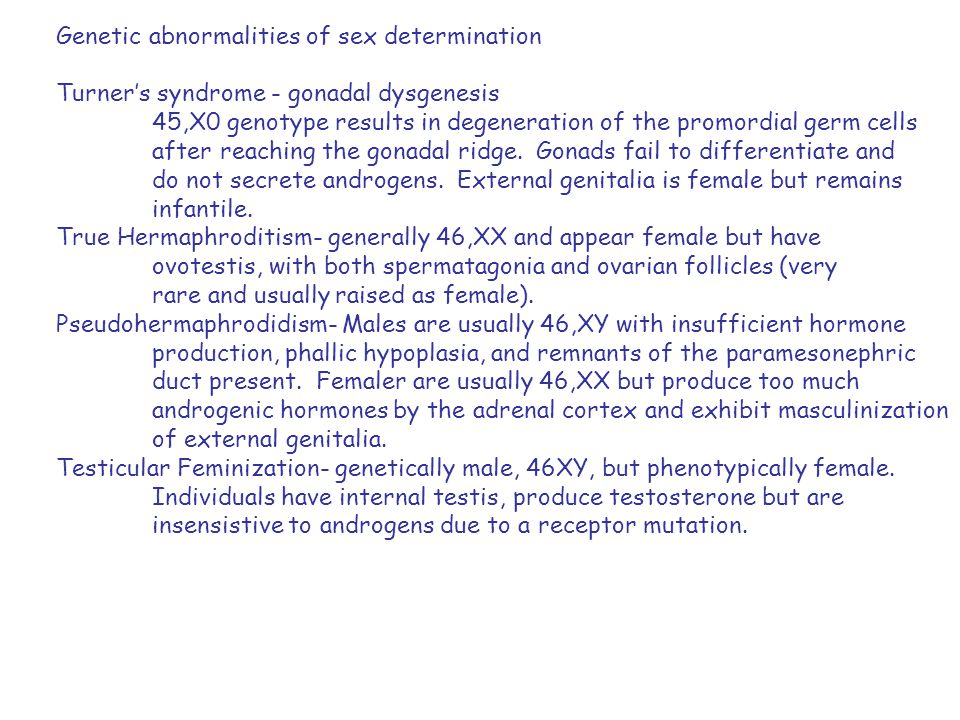 Genetic abnormalities of sex determination