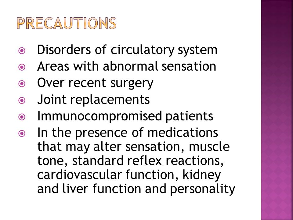 precautions Disorders of circulatory system