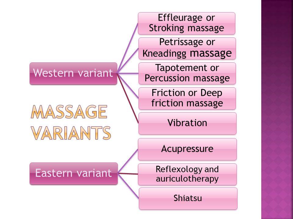 Massage variants Western variant Eastern variant
