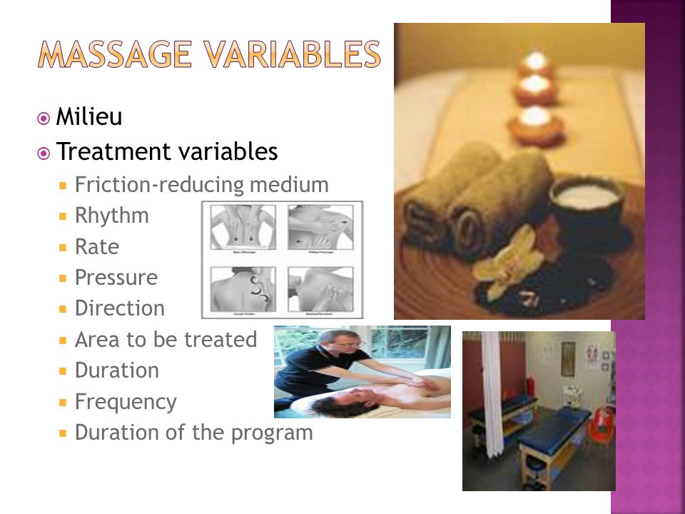 Massage variables Milieu Treatment variables Friction-reducing medium