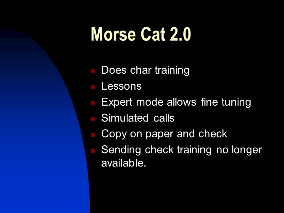 Morse Cat 2.0 Does char training Lessons