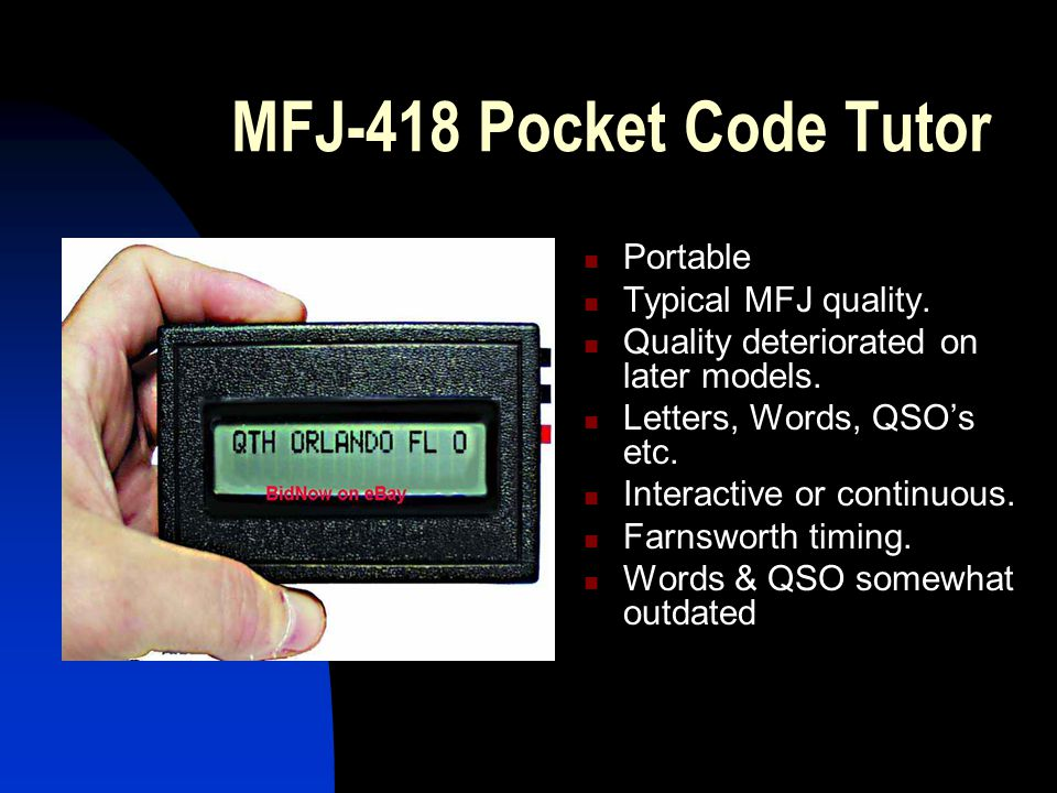 MFJ-418 Pocket Code Tutor Portable Typical MFJ quality.