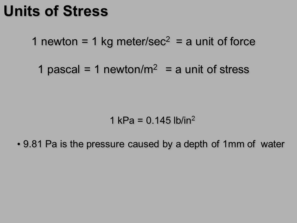 Units of Stress 1 newton = 1 kg meter/sec2 = a unit of force