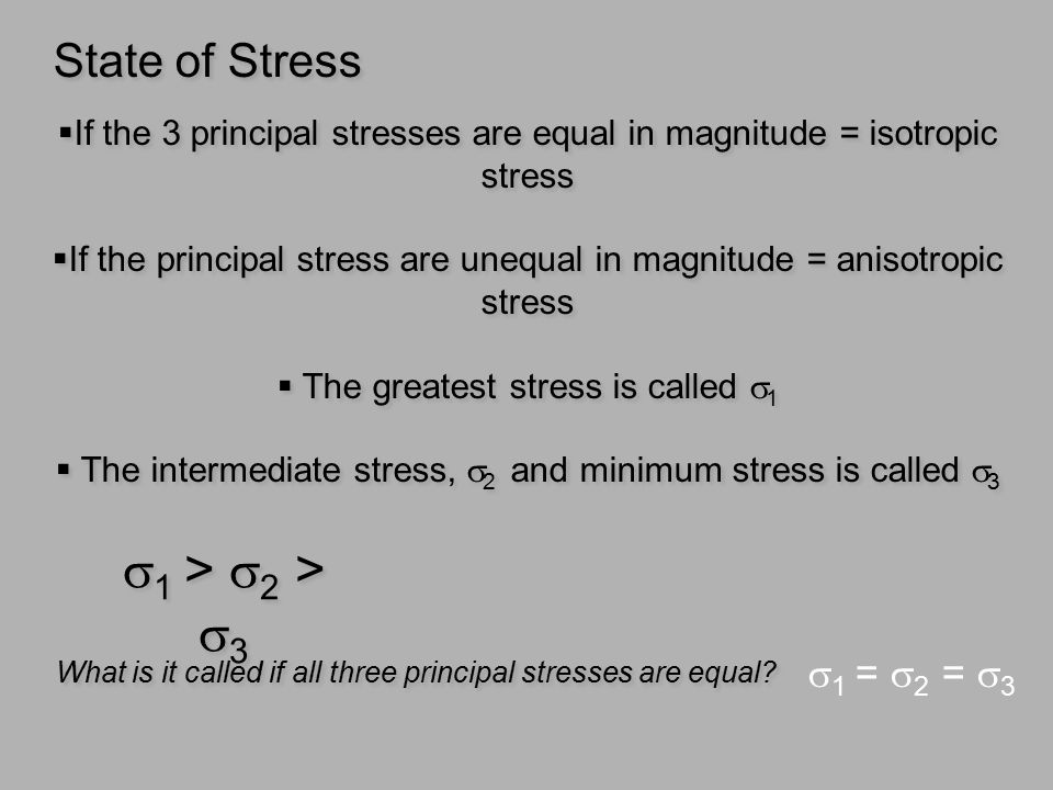 s1 > s2 > s3 State of Stress s1 = s2 = s3