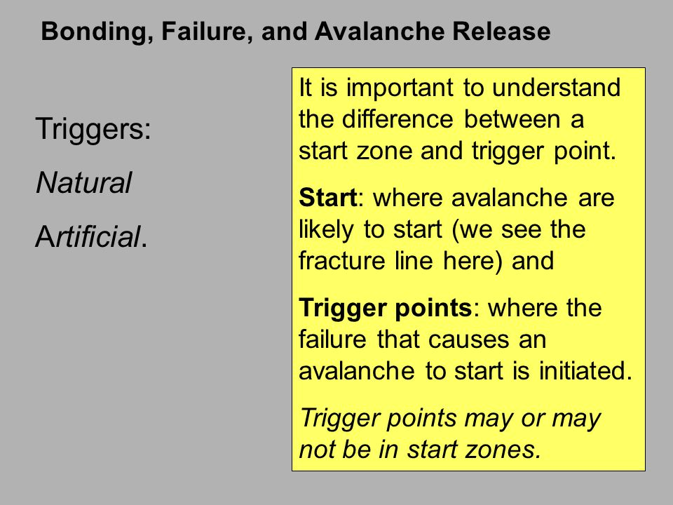 Triggers: Natural Artificial. Bonding, Failure, and Avalanche Release