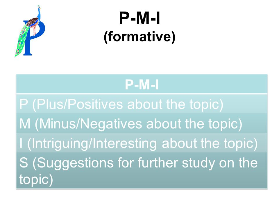 P-M-I (formative) P-M-I P (Plus/Positives about the topic)