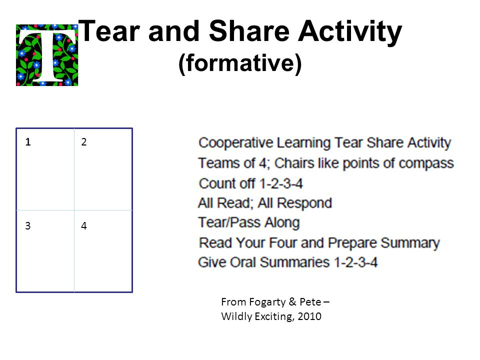 Tear and Share Activity (formative)