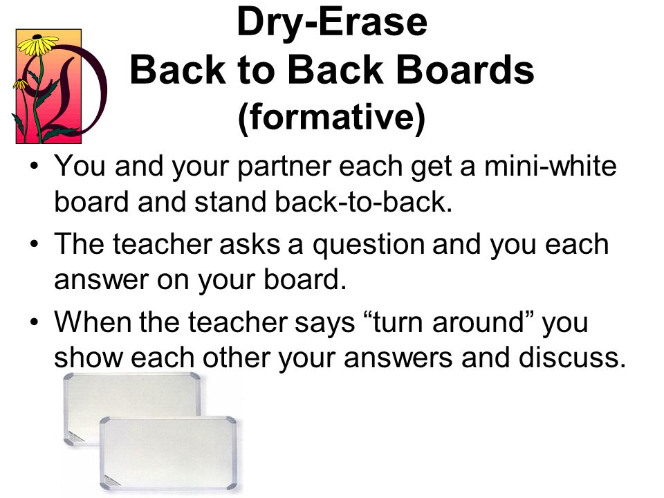 Dry-Erase Back to Back Boards (formative)