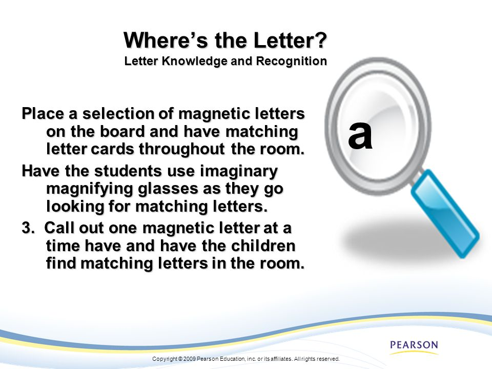 Where's the Letter Letter Knowledge and Recognition