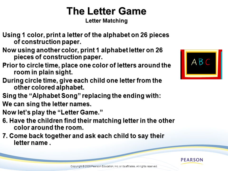 The Letter Game Letter Matching