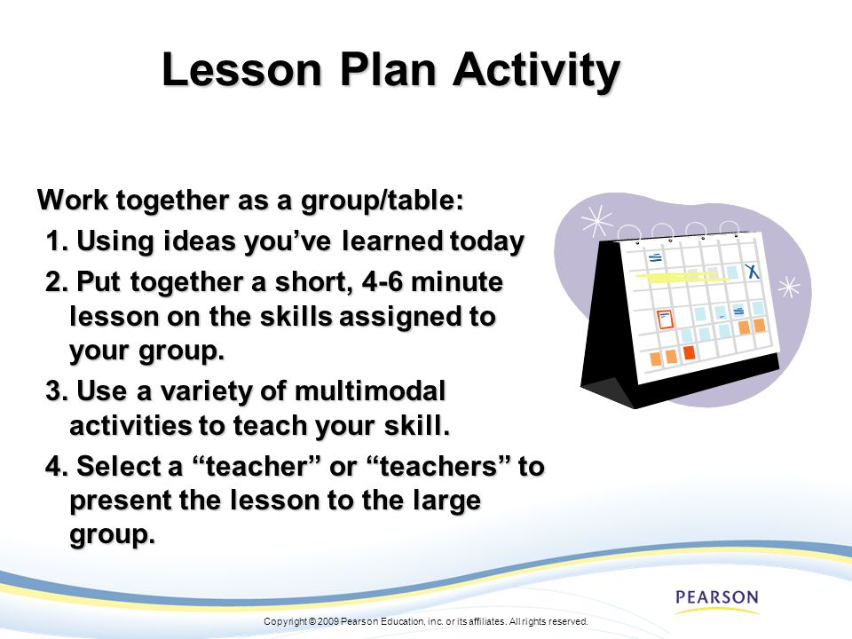 Lesson Plan Activity Work together as a group/table: