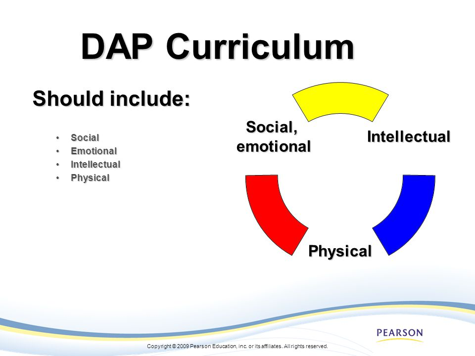 DAP Curriculum Should include: Social Emotional Intellectual Physical