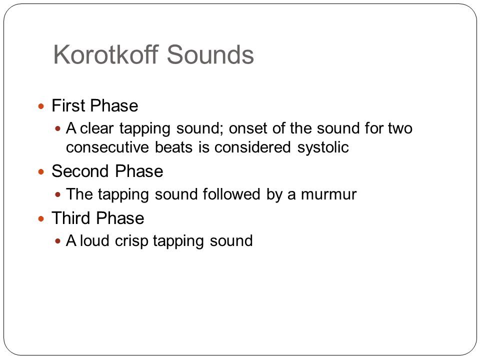 Korotkoff Sounds First Phase Second Phase Third Phase