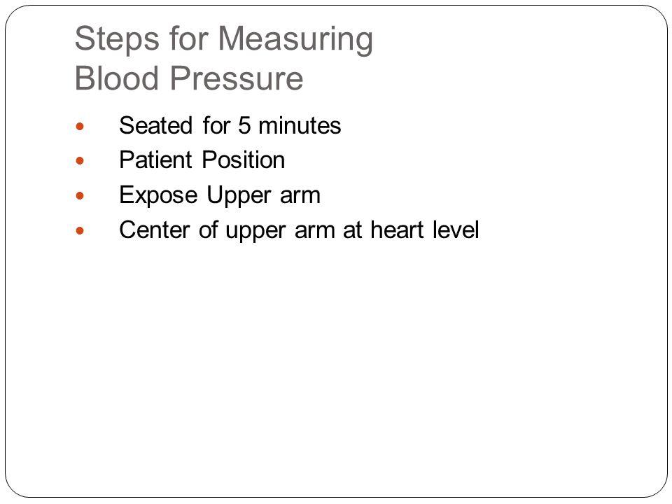 Steps for Measuring Blood Pressure