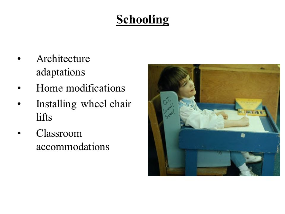 Schooling Architecture adaptations Home modifications