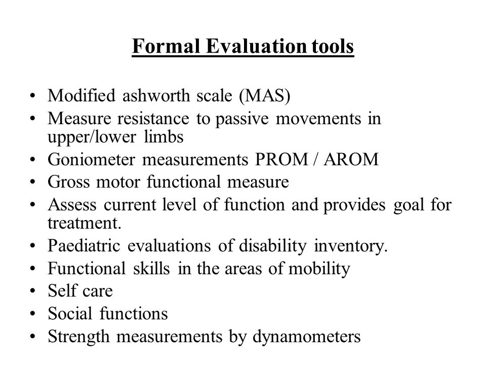 Formal Evaluation tools