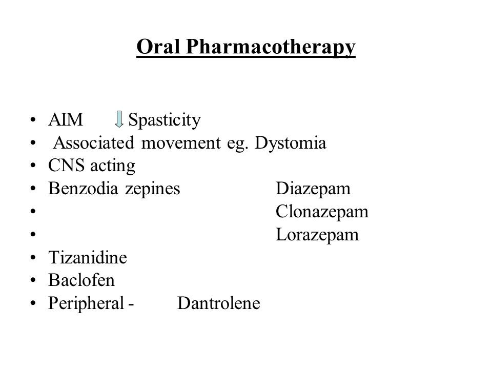 Oral Pharmacotherapy AIM Spasticity Associated movement eg. Dystomia