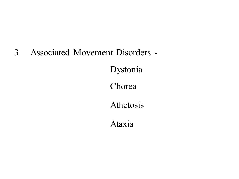 Associated Movement Disorders - Dystonia Chorea