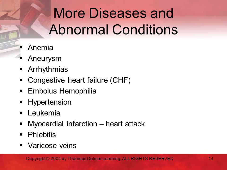 More Diseases and Abnormal Conditions