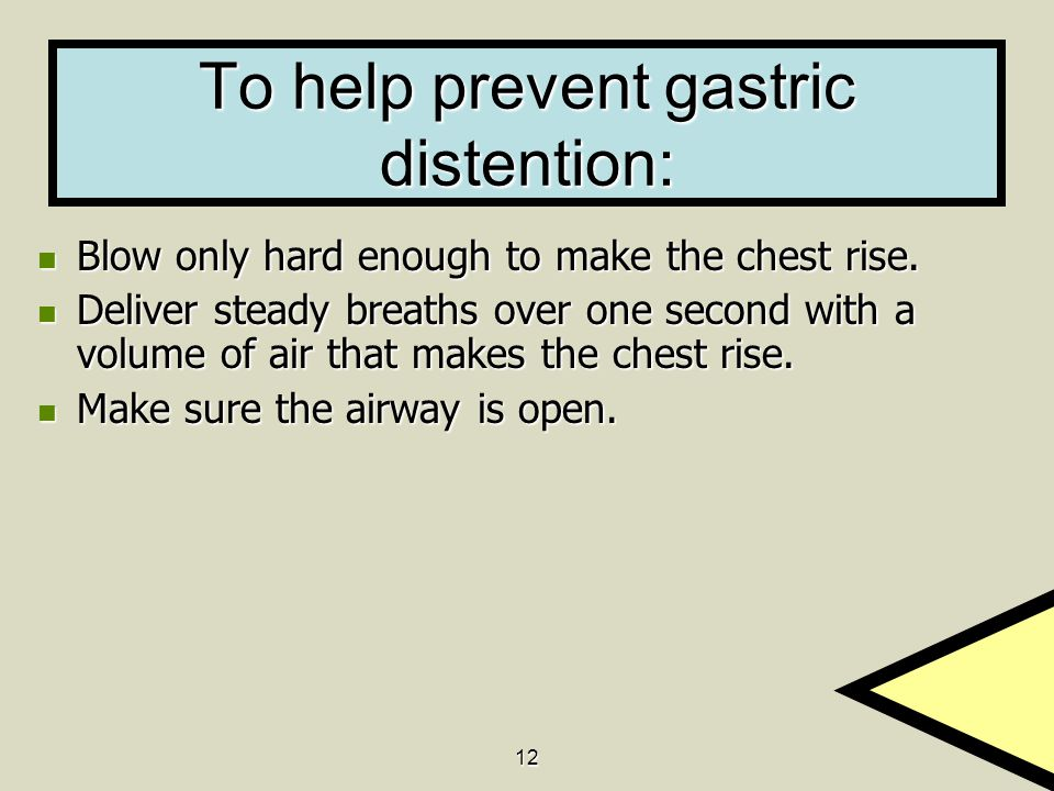 To help prevent gastric distention: