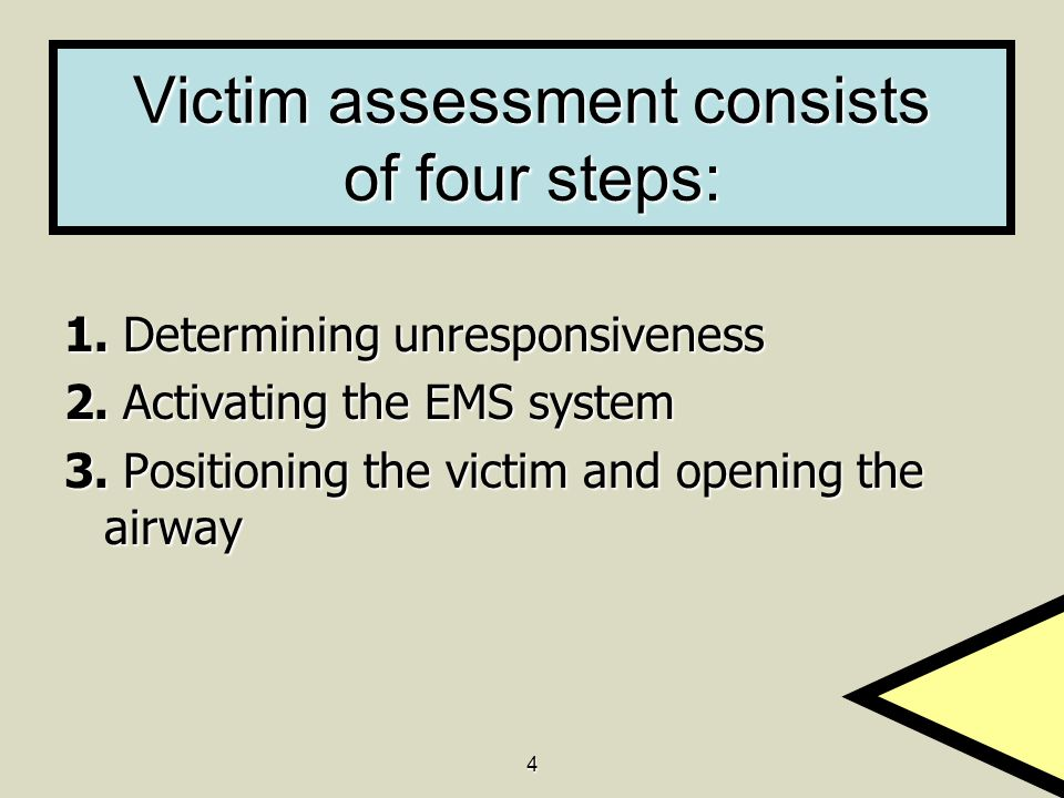Victim assessment consists of four steps: