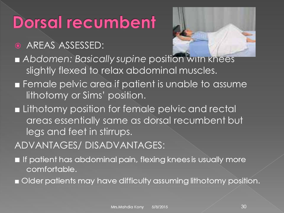 Dorsal recumbent AREAS ASSESSED: