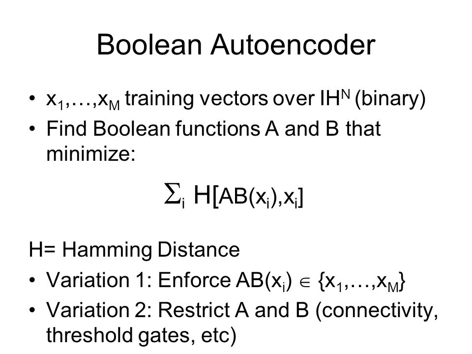 Boolean Autoencoder x1,…,xM training vectors over IHN (binary)