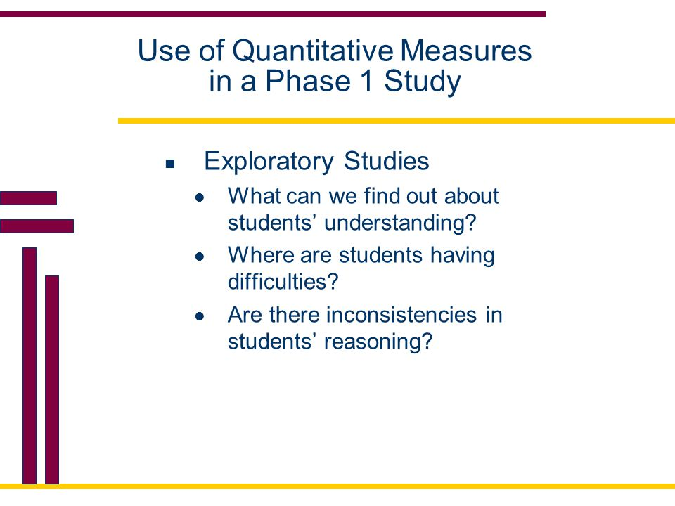 Use of Quantitative Measures in a Phase 1 Study