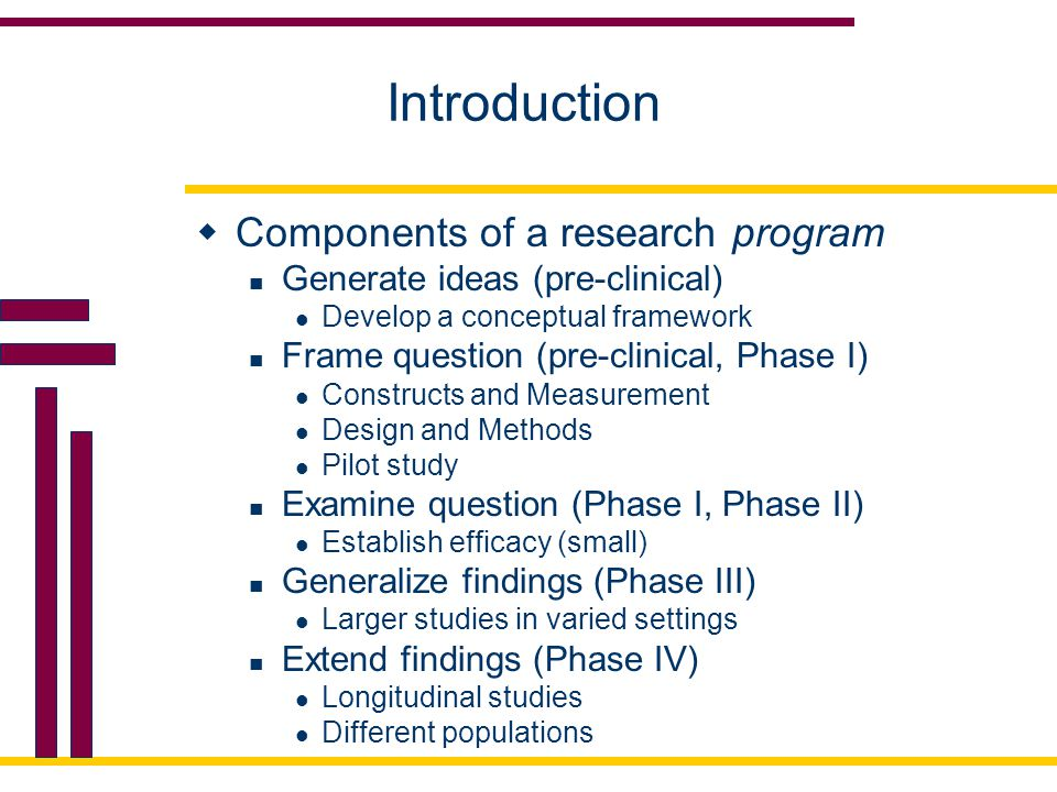 Introduction Components of a research program